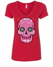 Pink Sugar Skull With Roses Women's V-Neck T-Shirt Day of the Dead