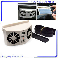 Ivory Color Solar Powered Car Front/Rear Window Air Vent Cool Cooler Dual Fan