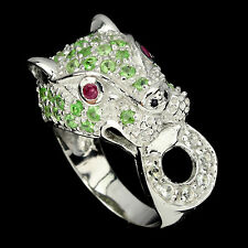 AWESOME NATURAL GREEN TSAVORITE,RUBY,SAPPHIRE,W. TOPAZ 925 SILVER TIGER RING 7