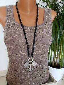 Lange Hippie Halskette 60er 70er Jahre Peace Kette Friedenskette Halsschmuck