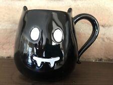 Pottery Barn Halloween Vampire Bat Mug Coffee Cup Black Stoneware Ceramic NIB