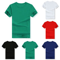 Unisex Women Men Casual T-Shirt Solid Color Short Sleeve O  Neck Summer