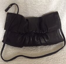 NWOT Large DAVID LAWRENCE Black Leather Clutch/Cross Body/Shoulder Bag / Handbag