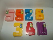 "vintage tyco sesame street plastic numbers lot of 7 4 1/2"" tall"