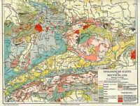 GEOLOGISCHE KARTE von Deutschland ORIGINAL um 1905 Alpen