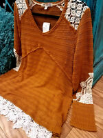 NWT BOUTIQUE CROCHET LACE CUFFED SLEEVE THERMAL KNIT WOMEN'S T-SHIRT TOP BOHO M