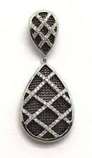 Sterling Silver Channel Set CZ X Web Caged Crossover Dangle Double Pear Pendant