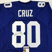 Autographed/Signed VICTOR CRUZ New York Blue Football Jersey JSA COA Auto