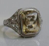 Vintage 1920's / 1930's 14K White Gold Citrine Filigree Ring - Size 5.5