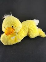 "Yellow Chick Duck Plush Rainbow Ribbon Stuffed Easter 13"" Long Soft Toy Dan Dee"
