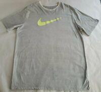 Gray/ White Large The Nike Tee Athletic Cut Short Sleeve T-Shirt Dri-Fit Mens
