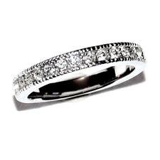 Bague anneau plaqué argent cristal blanc T 56 bijou ring A3
