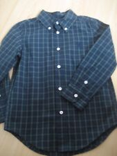 $38 NEW Boy 5 Navy Blue Green Plaid CHAPS Button Down DRESS SHIRT Cotton