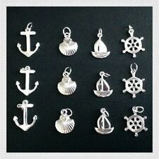 12 Silvertone Sailboat Anchor Shell Nautical Charms Jewelry Bracelet Earrings L6