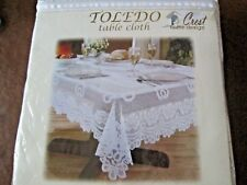 "CREST HOME DESIGN*TOLEDO WHITE TABLECLOTH* 70"" (178 cm) ROUND.*NEW SEALED*"