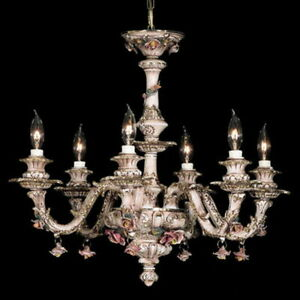 Capodimonte Made in Italy Chandelier 6 Light Brown & Gold Finish (New)