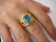 !IMPRESSIVE 18K GOLD BLUE TOPAZ AND RUBY DESIGNER LADIES RING,11.4 GR,SIZE 5.75