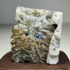 New ListingNatural crystal quartz cluster mineral specimen, hand carved, leaves, face