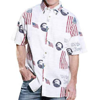 We The People Patriotic American Flag Woven Shirt 4th of July Bald Eagle USA