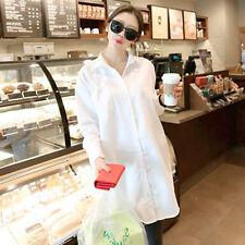 Women's Korean Style Fashion Casual Loose Long Version Pure Color Top Shirt