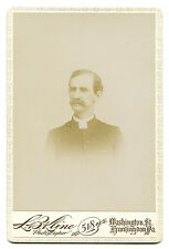 CLERGY WITH THICK MUSTACHE. CABINET CARD. WASHINGTON, PA.