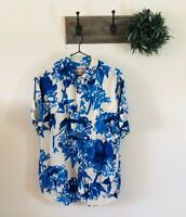 Jams World Mens Blue Floral Hawaiian Shirt M