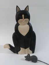Wooden Folk Art Painted Wood Black White Cat and Mouse Figurine Carolyn Davies