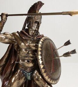 "12.5"" LEONIDAS Greek Warrior SPARTAN KING Statue Sculpture SPEAR Arrow In SHIELD"