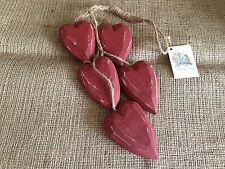 Vintage Red Wooden Cluster Hanging Heart Rustic Shabby Chic Home Decoration Gift