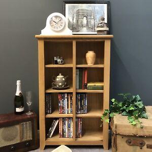 Oak DVD Storage Shelves / Tall Bookcase Solid Wood Bookshelf / Display Grange