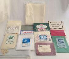 Aida Fabric Cloth 12 Piece Lot 11 14 18 Count & Waste Canvas Lot A