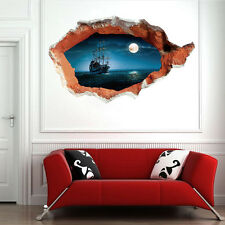 3D Night Sea Ship View Art Wall Sticker | Moonlight Ocean Sail Boat Scene Mural