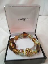East 5th Glass Beads Bracelet copper aqua gold MIB