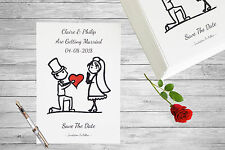 Personalised Save The Date Cards X 50 Wedding Cute Bride Heart Magnetic A6 SD105