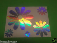 DAISY FLOWERS Holographic Rainbow Chrome Decals Stickers set of 5