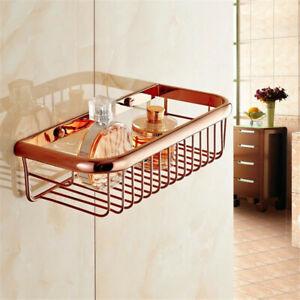 300mm Rose Gold Copper Wall Mounted Bathroom Shower Shelf Storage Basket mx003