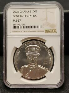 2002 Ghana 100 Sika 925 Sterling Silver Coin - General Ignatius - NGC MS 67