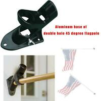 2 Positions Aluminum Flag Pole Holder Fixed Wall Mount Bracket Home Outdoor