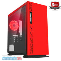 AMD 3400G Quad Core 16GB Windows 10 SSD Gaming PC Computer Expedition Red up310