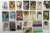 LOT OF 22  HAPPY NEW YEAR GREETINGS POSTCARDS ANGEL BELLS BOYS SNOWBALL FIGHT...