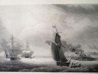 SKELTON Gravure acier eau forte etching fort de santi petri guerre navale marine