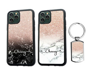 PERSONALISED Name Marble Silicone Case iPhone SE XS MAX 11 12 Pro Max + Keyring