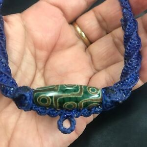 necklace pendant nine eye tibetan bead antique 9 eyes MALA AMULET genuine DZI