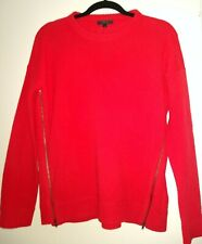 J. Crew Coral Red Wool Sweater with Side Zippers Size Small NWT