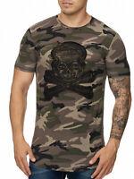 Camouflage T-Shirt Braun Totenkopf Oversize Skull Militär Shirt Army John Kayna