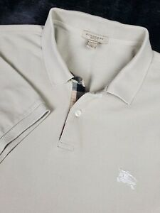 Burberry Brit Taupe Knit Polo Shirt w/ Novachek Trim Size - XL