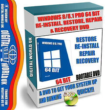 Windows 8/8.1 Pro 64 Bit Boot DVD, Re-Install, Recover, Restore, Repair your PC