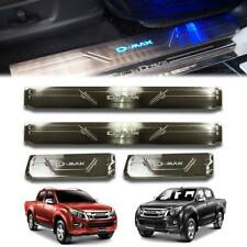 CHROME SCUFF PLATE SILL DOOR STEP WITH BLUE LED FOR ISUZU D-MAX DMAX 2012 13 14