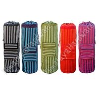 Cotton Yoga Mat Bag: black blue red green purple backpack sling carry duffle