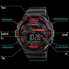 SKMEI Men's Black Sports Military Digital LED Alarm Chrono Shock Wrist Watch USA